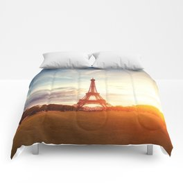 Sunset Eiffel Tower Comforters