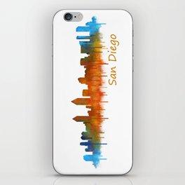 San Diego California City Skyline Watercolor v02 iPhone Skin
