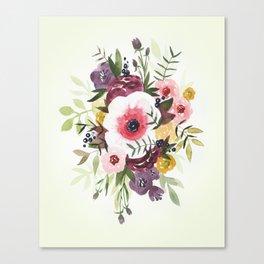 Burgundy Blush Watercolor Floral Canvas Print