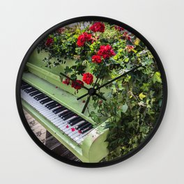 Piano with Flowers Wall Clock