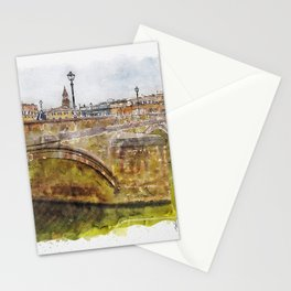 Aquarelle sketch art. View of the historic bridge in Florence. Stationery Cards