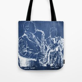 Jazz: Miles and Parker on stage handmade drawing Tote Bag