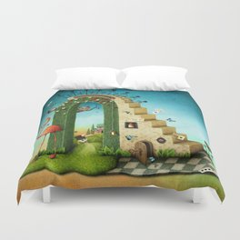 stairs and green arch with fabulous items Duvet Cover