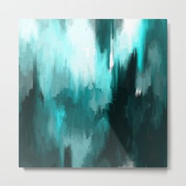 Ocean Water - an Aqua Blue Abstract painting with White Metal Print