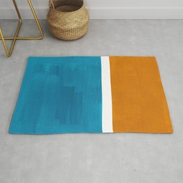 Rothko Minimalist Mid Century Modern Vintage Colorful Pop Art Colorfields Dark Teal Yellow Ochre Rug