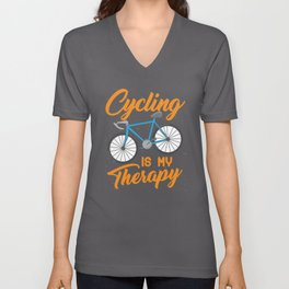Cycling is my Therapy Bikers Gifts Unisex V-Neck