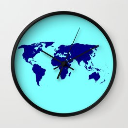 World Silhouette In Blue Wall Clock