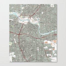 Sacramento California Map (1992) Canvas Print