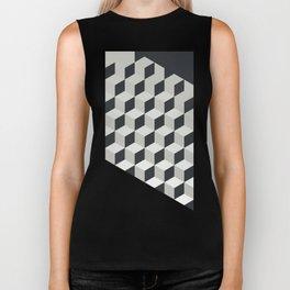 Gradient Cubes – Ebony Black / Warm Gray Abstract Print Biker Tank
