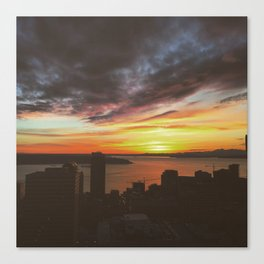 Sunset over Seattle  Canvas Print