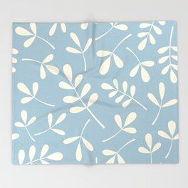 Cream on Blue Assorted Leaf Silhouettes Throw Blanket