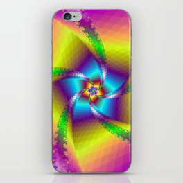 Whirligig in Yellow Blue and Green iPhone Skin