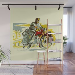 Retro vintage style FREEDOM motorcycle Wall Mural