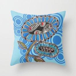 Madhubani - Blue Fish Flower2 Throw Pillow
