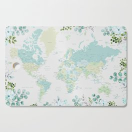 Mint and green floral world map with cities Cutting Board