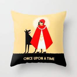 Little Red Riding Hood And The Big Bad Wolf - Classic Fairy Tale Poster Throw Pillow