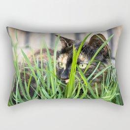 Cat in grass Rectangular Pillow