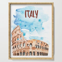 Italy architecture Coliseum watercolor. Serving Tray