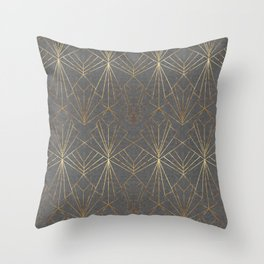 Art Deco in Gold & Grey Throw Pillow