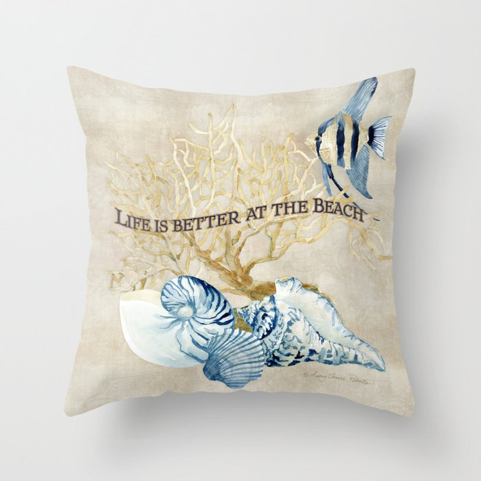 Indigo Ocean Sea Shells Angelfish Coral Watercolor Artwork Throw Pillow