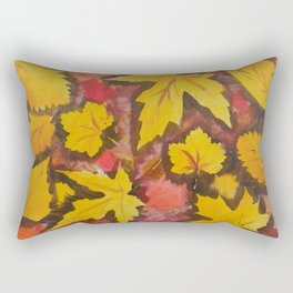 Autumn Leafs Red Yellow Brown Fall pattern based on the acrylic painting Rectangular Pillow