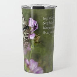 Gray Butterfly on Pink Travel Mug