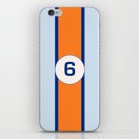 racing iPhone & iPod Skins featuring RACING COLOURS- GULF RACING by MATT WARING