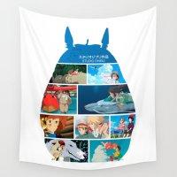 hayao miyazaki Wall Tapestries featuring Hayao Miayazaki Films by adovemore