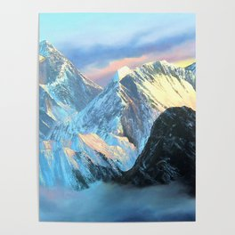 Panoramic Sunrise View Of Everest Mountain Poster
