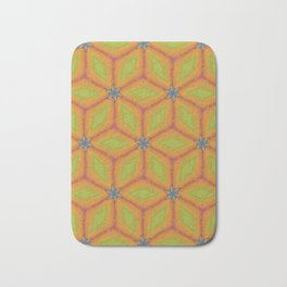Green and Gold Tile Pattern Repeating Bath Mat