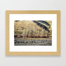 Landscape with Turkeys and Trees Framed Art Print