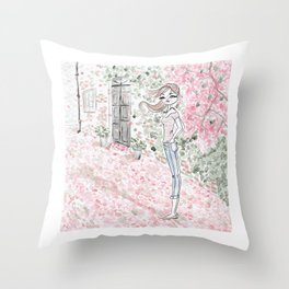 Sweet woman in a pink petal rain. Throw Pillow