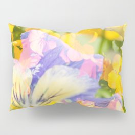 The Iris and Yellow Pansy Flowers Pillow Sham