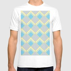 Diamond Art Deco; - Blue MEDIUM White Mens Fitted Tee