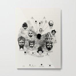 Ancient Faces Infographic Journey Metal Print