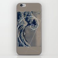 fibonacci iPhone & iPod Skins featuring Hokusai Meets Fibonacci by Vi Sion