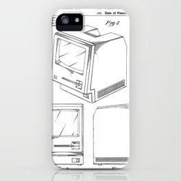 Apple Macintosh Patent - Apple Art - Black And White iPhone Case