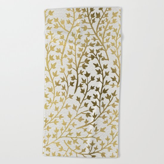 Gold Ivy Beach Towel