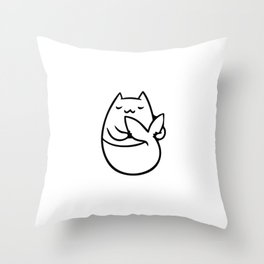 Sleeping Catmaid - Cute little mermaid cat drawing Throw Pillow