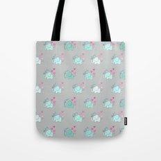 Elephant Love Walk Gray Tote Bag
