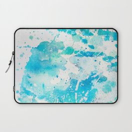 Hand painted teal turquoise ivory watercolor splatters Laptop Sleeve