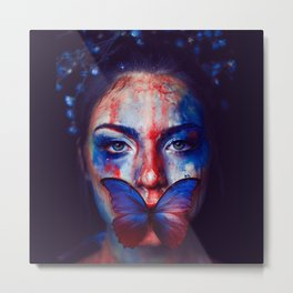 Beautiful Woman Face with Butterfly - Wall Arts Only Metal Print