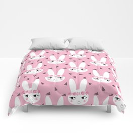 Bunny baby girl rabbit illustration cute decor for girls room pink pattern by charlotte winter Comforters