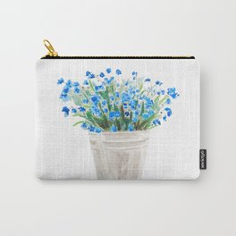 blue forget me not in a basket watwercolor Carry-All Pouch