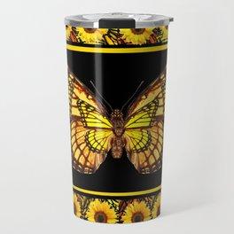 YELLOW MONARCH BUTTERFLIES & SUNFLOWERS BLACK ART Travel Mug