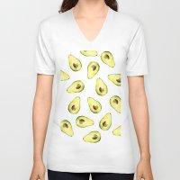 avocado V-neck T-shirts featuring avocado by Lucia Devetakova