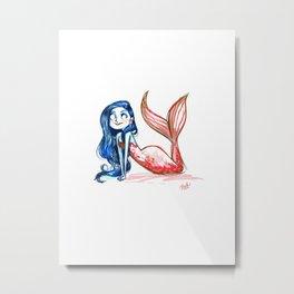 Red and blue Mermaid Metal Print