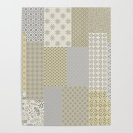 Modern Farmhouse Patchwork Quilt in Gray Marigold and Oatmeal Poster