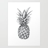 pineapple Art Prints featuring Pineapple by Sibling & Co.