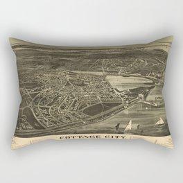 Aerial View of Cottage City (Oak Bluffs), Massachusetts (1890) Rectangular Pillow